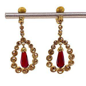 Monet Earrings Red Drop Rhinestone Push Back Clip